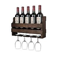 oropy portabottiglie a parete e supporto in vetro, scaffale di esposizione di stoccaggio del vino in legno rustic, per arredamento cucina, sala da pranzo, bar, casa e cucina, completamente assemblato