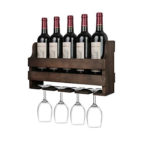 OROPY Wand Weinregal mit Glashalter, Vintage Flaschenregal aus Holz, für Küche, Esszimmer, Bar, Wohn- und Küchendekor, Vollständig montiert