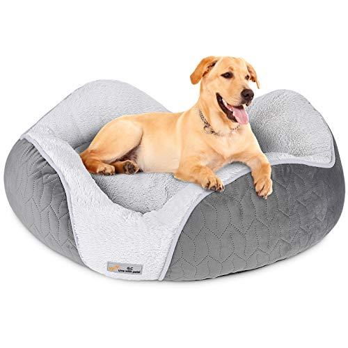 G.C Dog Bed Large Medium Small Washable, Calming Fluffy Plush Dog Sofa Beds, Hard Cosy Luxury Soft Cat Pet Mat Cushion Pillow Mattress
