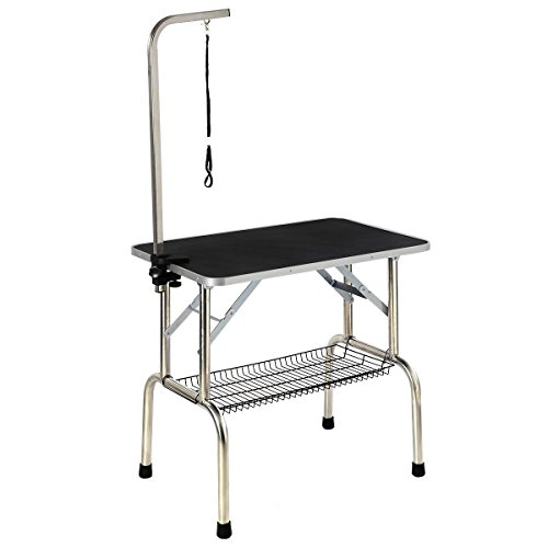 Giantex Large Portable Pet Dog Cat Grooming Table Dog Show W/arm & Noose & Mesh Tray