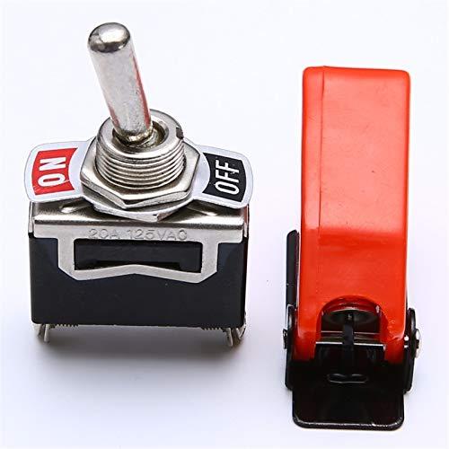 MTnoble Interruptores y relés de automóviles Adecuados para alta calidad 1 Set de palanca Interruptor de palanca ON/OFF SPST Cambiar de palanca Metal Palanca Coche Dash Light con cubierta de misiles