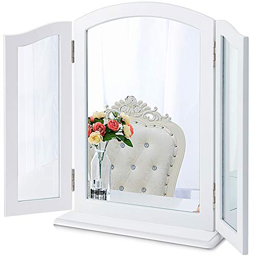 Chende 32.67' X 23.62' Large Trifold Mirror with Detachable Wooden Base, 3 Way Mirror for Wall Vanity Table, Haircut Mirror in Bathroom Bedroom, Tabletop or Wall Mounted (White)