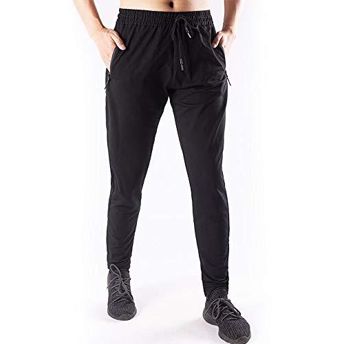 JEPOZRA Pantaloni Sportivi Uomo Slim Fitness Casual Pantaloni Sportivi da Corsa Jogging Palestra Allenamento in Cotone con Coulisse Tasche (Nero, M)