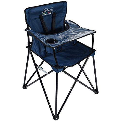 ciao! baby Portable High Chair for Travel, Fold Up High Chair with Tray, Navy