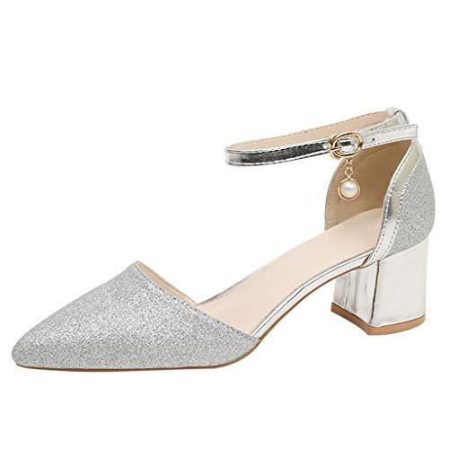 Vovotrade dames pompen enkelriempjes blokhak Pointed Toe sandalen