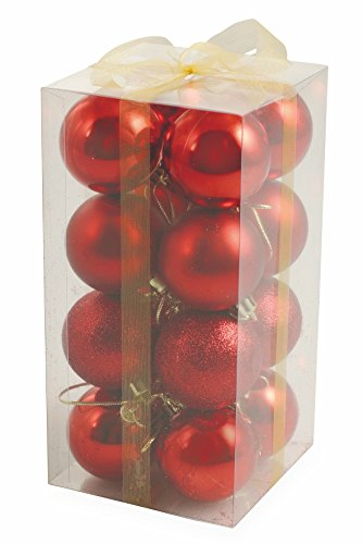 Galileo Casa 2411367 Set 16 Palle di Natale, Rosso, 3x3x0.1 cm, unità