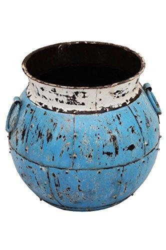 Indischer Metall Blumentopf Ishtiaq 40cm Groß | Mediterraner Vintage Pflanzentopf aus Indien Außen für Garten, Terrasse oder Balkon | Mediterrane Blumenkübel Pflanzenkübel innen als Deko