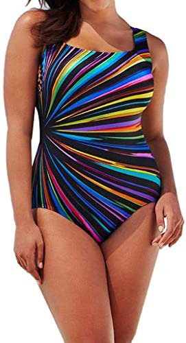 NEEKEY Plus Size Swimsuits for Women One Piece Round Neck Tummy Control Bathing Suits Backless product image