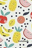 Notizbuch: Niedliche Früchte Notizbuch   6x9 Zoll DIN A5   120 Seiten Punktraster   Früchte Notizheft   Obst Tagebuch   Kinder Schreibheft   Sommer Geschenk