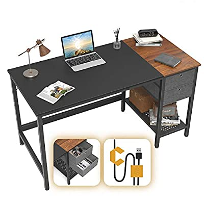 Cubiker Computer Home Office Desk, Small Desk with Drawers 47 inch Study Writing Table, Modern Simple PC Desk, Black and Espresso
