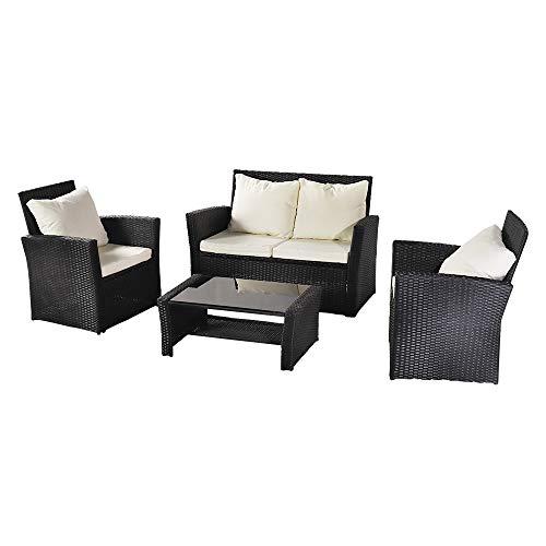 Conjunto de muebles de patio Pup Joint para exteriores, sofá de ratán, combinación de cuatro piezas, paquete de mesa de café de vidrio templado paquete 1 (combinación total 2 cajas) 5-7 días de envío
