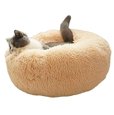 ALLNEO Original Cat and Dog Bed Luxury Shag Fuax Fur Donut Cuddler Round Donut Dog Beds Indoor Pillow Cuddler for Medium Small Dogs (M-24248inch, Grey)