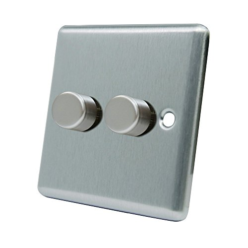 aet csc2gdim4010A 400W regulador de Intensidad de luz (3Luces, 2Vías, Satinado Acabado Cromado clásica Doble Interruptor