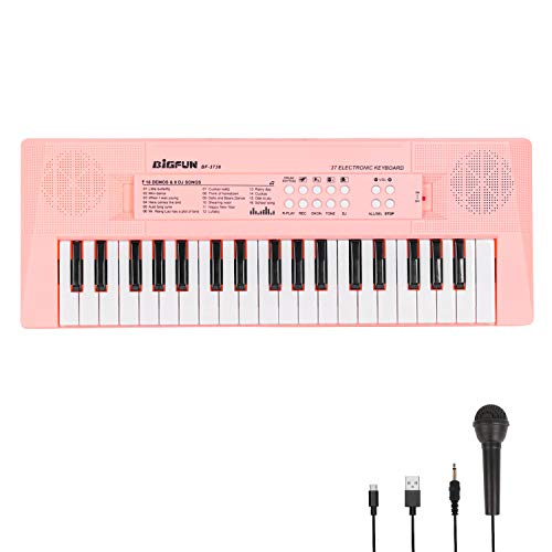 Electronic Piano Keyboard 37 Keys Piano for Kids Music Keyboard Piano with Microphone Learning Music Educational Toy Gift for 3-6 Years Old Girls Boys Beginners (Pink)