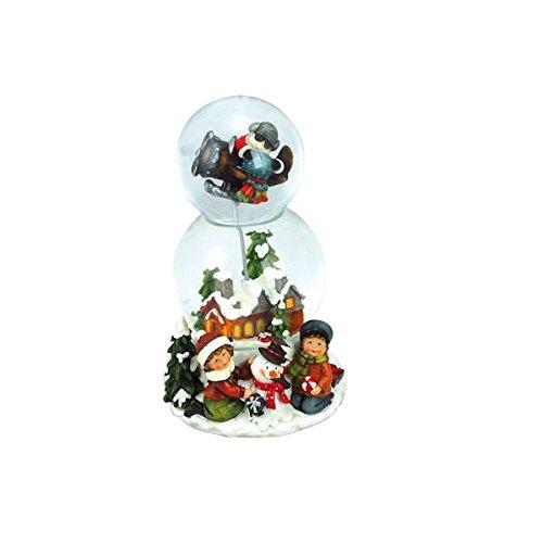 Carillon Double Sphère Boule avec Neige Maison Enfant aereoplano Mélodie H 20 cm