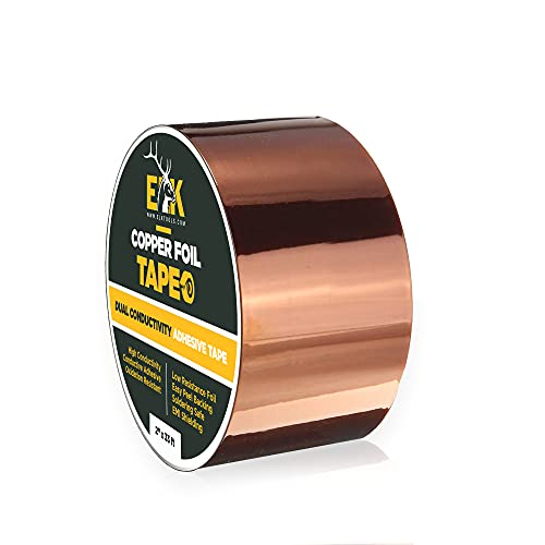 ELK Copper Foil Tape with Conductive Adhesive - Stained Glass, Arts and Crafts, Guitar, EMI Shielding, Solder, Electrical Repair and Grounding (2 Inches x 33 Feet)