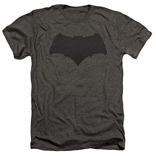 Popfunk Batman v Superman Movie Batman Uniform Logo Dark Gray Heather T Shirt & Stickers (Large)