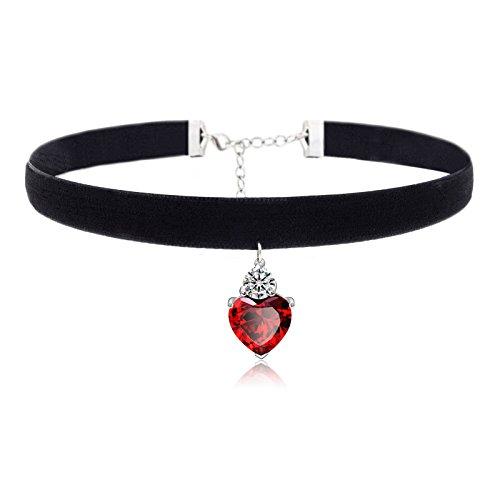 Chokers para Las Mujeres Niñas Negro Velvet Rojo Granate Pendiente Gargantilla Collares (Rojo)