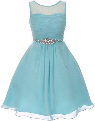 BluNight Collection Big Girls Glitter Rhinestones Pleated Fitted Bodice Chiffon Flower Girls Dresses (50C11C) Aqua 16
