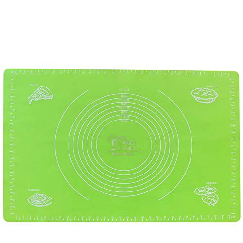 Silicone Baking Mat with Measurements,Non-Stick Pastry Mat for Rolling Dough,Easy to Clean Silicone Mat, inexperienced