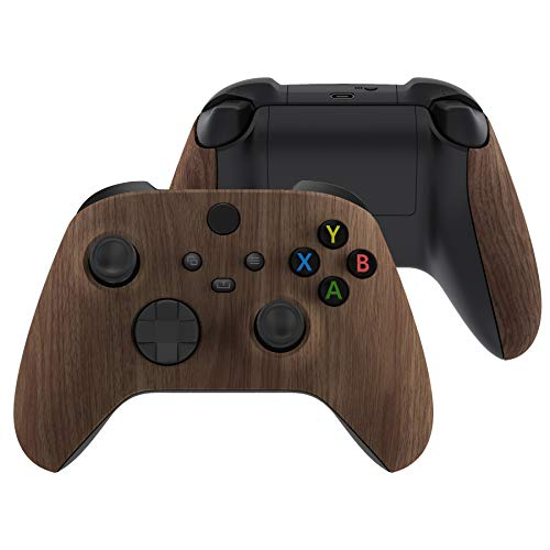 eXtremeRate Cover Joystick Custodia Copertura Frontale con Impugnatura Grip Pannello DIY Ricambio per Xbox Series X S Controller(Venatura del Legno)