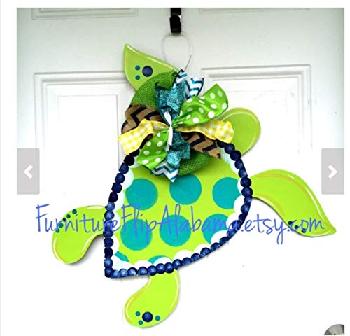 Sea Turtle door hanger wood summer wreath Nautical sign