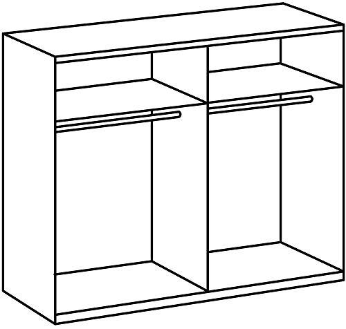 Wimex Kleiderschrank/ Schwebetürenschrank Curve, (B/H/T) 180 x 198 x 64 cm, San Remo-Eiche/ Absetzung Glas Weiß