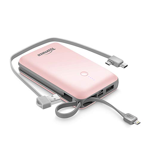Power Bank Topmate 10000mAh Portable Charger with Built-in Type-C Micro & iOS Cable as Lanyard | Artifice Design for Cellphone and Pad etc. |Pink