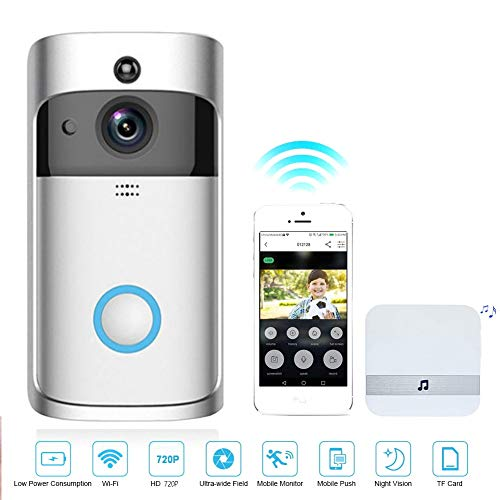 M-TOP Gegensprechanlage WLAN Funk, Video Türklingel WLAN Alexa, Türsprechanlage mit Kamera, 720p HD Videosprechanlage mit Bewegungsmelder, Nachtsicht, Zwei-Wege-Audio, Doorbell CameraSilver-8 GB