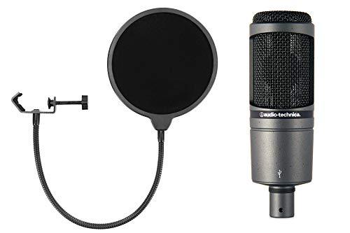 Audio-Technica AT2020 USB Kondensatormikrofon Set (mit Nierencharakteristik, USB-Audiointerface inkl. McGrey Popkiller) Schwarz