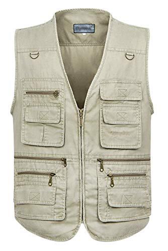 Gihuo Men's Casual Outdoor Leisure Lightweight Pockets Fishing Photo Journalist Denim Vest Plus Size (XXL, Beige)