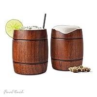 Servez votre cocktail préféré, de la bière ou toute autre boisson froide de ces gobelets qui sont conçus pour ressembler à un vieux baril. Fabriqués à la main à partir de bois massif et scellés avec un revêtement de qualité alimentaire, ces tasses so...