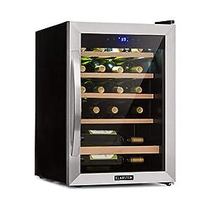 KLARSTEIN Vinamour - Cave à vin, Etagères en bois amovibles, Porte en verre, Panneau de commande tactile, Ecran LCD, Eclairage intérieur, Plage de température: 5 à 18°C - 19 bouteilles, Argent