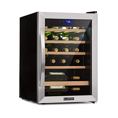 Klarstein Vinamour - Weinkühlschrank mit Glastür, Weinkühler, Weintemperierschrank, Touch Control, freistehend, 19 Flaschen / 65 Liter, schwarz