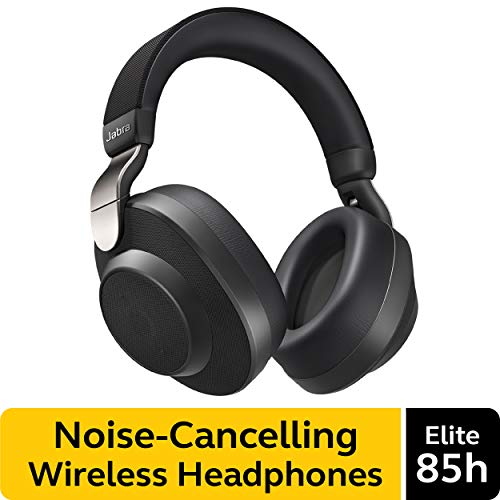 Jabra Elite 85h Wireless Noise-Canceling Headphones, Titanium Black  Over Ear Bluetooth Headphones Compatible with iPhone & Android - Built-in Microphone, Long Battery Life - Rain & Water Resistant