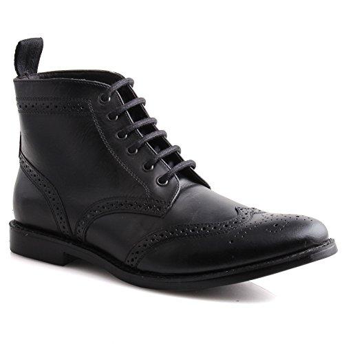 Unze Mens Leather 'Taylor' Lace Up Brogue Ankle Boots – IMP-M1