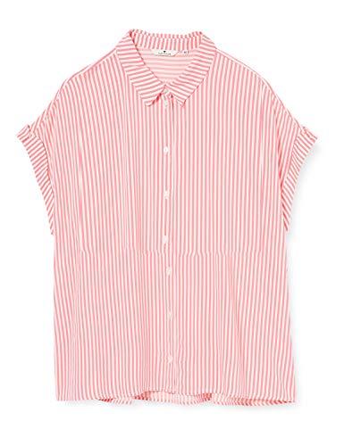 TOM TAILOR Damen Kurzarmbluse Polohemd, 21386-pink Offwhite Stripe, 42