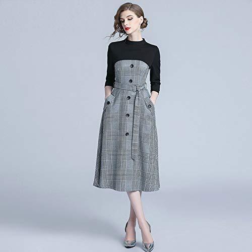 QUNLIANYI Abendkleid Kleid Slim Plaid Splice Knit Mit Belted Pocket Plaid Kleid Mittel- Und Langzeit A Line Dress L