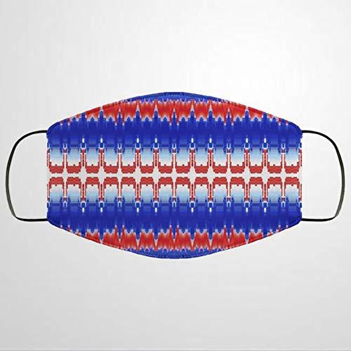 BYRON HOYLE Mundschutz in Rot, Weiß und Blau, personalisierbar, aus Baumwollstoff, Unisex, Anti-Staub, wiederverwendbar, bequem, atmungsaktiv, für den Außenbereich, mit Ohrschlaufe, Nase