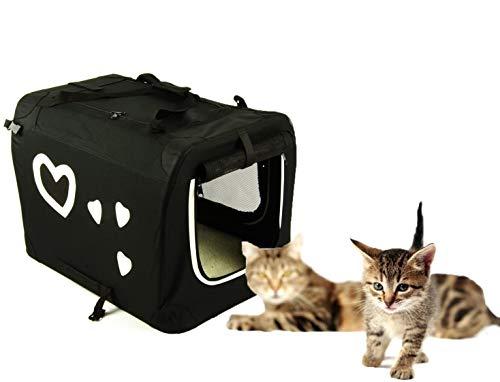 Valentina Valentti Cage de transport pour chien chat avec cœurs Taille S Noir/Blanc/V9