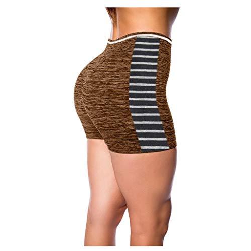 ZHANSANFM Damen Sportshorts Sweatshorts High Waist Elastisch Freizeitshorts Sommer Atmungsaktive Schnelltrocknend Jogginghose Leggings Yoga Shorts Kurze Hose (4XL, Kaffee-1)