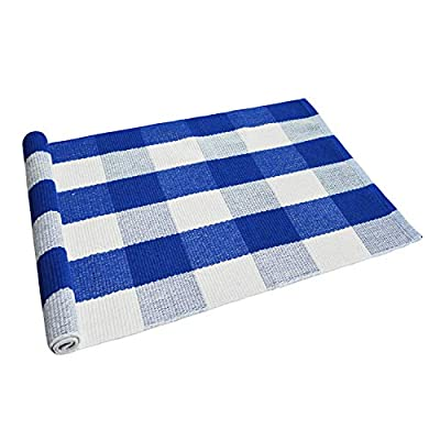 USTIDE 2'x3' Blue Buffalo Plaid Rug Cotton Hand-Woven Rug Front Porch Rugs Outdoor Doormat Washable Blue Rug