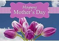 HD 10x7ftビニール写真の背景幸せな母の日の背景写真チューリップ花感謝パーティー祝い装飾ママ女性Msレディ写真ブース撮影ビニールスタジオ小道具