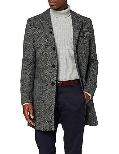 Marchio Amazon - find. - Wool Mix Smart Coat, Giubbotto Uomo, Grigio (grigio HB Long Line Coat)., S, Label: S