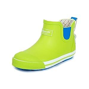 HIMOE キッズレインブーツ 子供用 男の子 女の子 ジュニア ショートレインブーツ 防水 撥水 雨靴 ラバーシューズ 滑りにくい 可愛い オシャレ (22.0cm, グリーン)