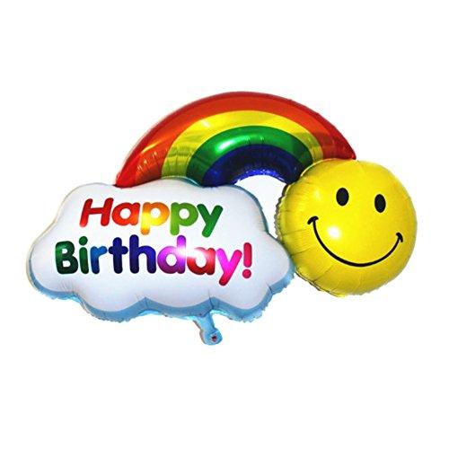 JUSTFOX - Happy Birthday Folienballon 30 x 20 cm Geburtstag Luftballon Regenbogen
