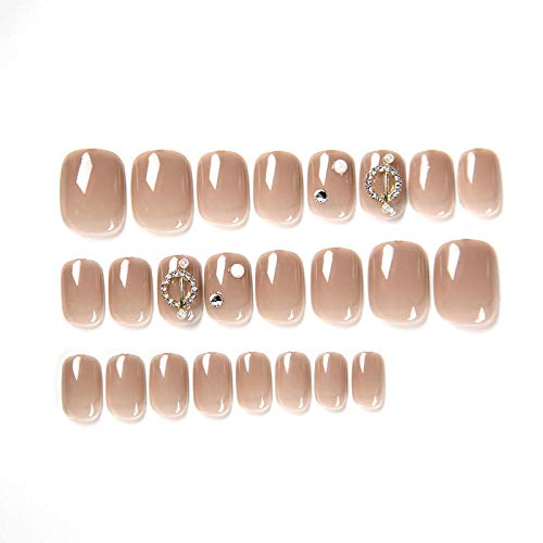 CLOAAE 24 pieces/box full-cover high-grade translucent nude false nails attached to short round head nail suits, suitable for summer fairy women