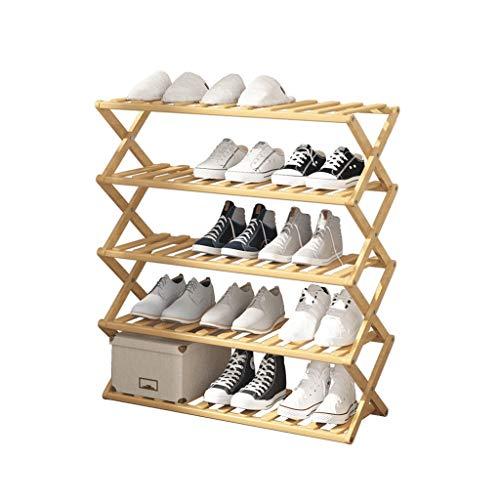 XBDD Rack de Zapatos Moderno Rack de Zapatos 5 Niveles Simple Ahorro de Espacio Adecuado para Pasillo Corredor Plegable Zapato de Madera Rack de Zapatos de Madera Natural.