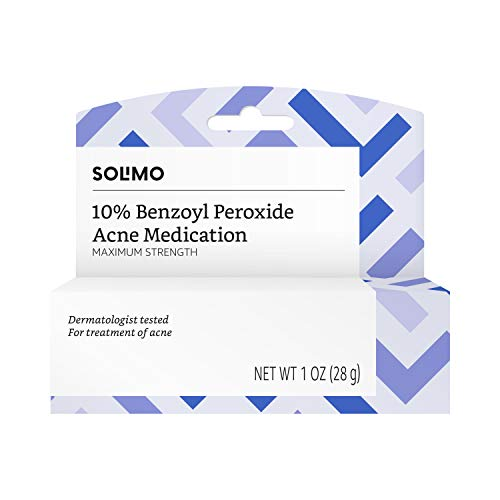 Amazon Brand - Solimo 10% Benzoyl Peroxide Acne Medication, Maximum Strength, 1 Fluid Ounce
