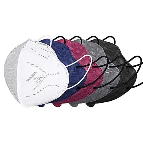 Wawech bunte FFP2 Maske 50 Stück ,farbig Atemschutzmaske CE Zertifiziert 5-Lagen einzelverpackt rot blau grau Mundschutzmaske Partikelfiltermaske mit 5 Farben